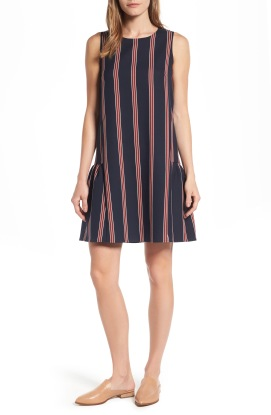 Navy Vertical Dress - and excellent foundation piece with a classic pattern. On sale July 21st -August 6th during the Nordstrom Anniversary Sale